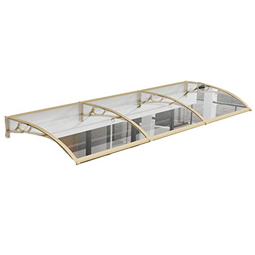 GAFEY Curved Mute Rainproof Door Shed Outdoor Anti-typhoon Anti-aging PC Endurance Board with Depth 60cm/80cm Aluminum Alloy Bracket (Size : 60X120cm)