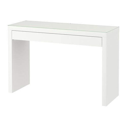 IKEA MALM kaptafel wit met glazen blad 120 x 41 x 78 cm