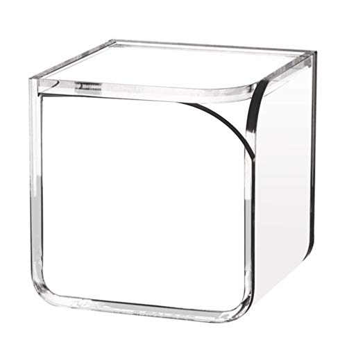 Cabilock Acrylique Cube Boîte Coton Clair Tampons Boules Boîte Maquillage Pad Étui de Rangement Table Polyvalente Bureau Organisateur pour Petits Articles