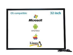 Deyowo 32 Zoll Infrarot-Touchscreen-Rahmen, IR-Touchscreen-Overlay, Touchscreen-Panel, kostenloser Treiber für interaktives Whiteboard, Touch-LCD-Monitor TV