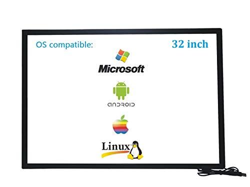 Deyowo 32 pulgadas Pantalla táctil infrarroja táctil, panel táctil, controlador gratuito para pizarra interactiva, monitor LCD táctil