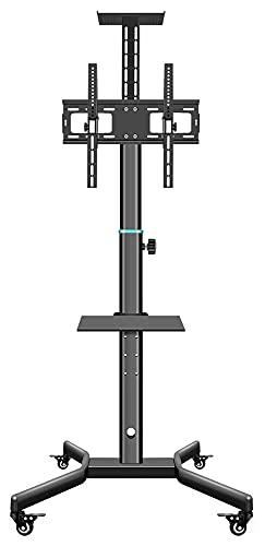 TabloKanvas Carrito de TV móvil con soporte de TV para aulas de hasta 52 pulgadas TV en ruedas, altura ajustable (color: negro)