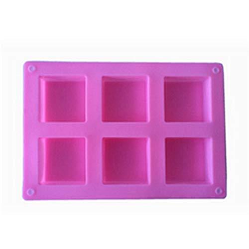 6 Gaatjes Handgemaakte rechthoek Plein Silicone Soap Mold Koekjes Mold Cake Decorating Fondant Vormen 1 Stuk (Color : Square)