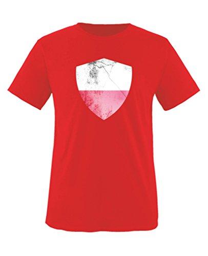 Comedy Shirts - Polen Trikot - Wappen: Groß - Wunsch - Kinder T-Shirt - Rot/Weiss Gr. 86-92