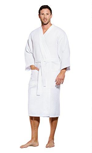 Turquaz Linen Lightweight Long Waffle Kimono Spa Robe for Men (Small/Medium, White)