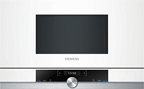 Siemens MDA BF634LGW1 iQ700 - Microondas integrable / encastre sin marco sin grill, 21 L, 900 W, color blanco con acero inoxidable