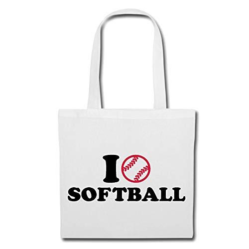 Tasche Umhängetasche I Love Softball - BALLSPORT - Beach Ball - Volleyball - Handball Einkaufstasche Schulbeutel Turnbeutel in Weiß