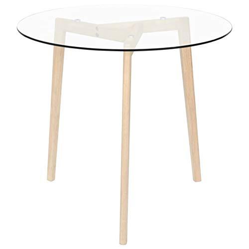 """Mesa de comedor redonda de 31.5 """"Mesa de comedor de vidrio templado moderna Mesa de centro con tapa redonda y patas de roble de madera maciza, Cocina Comedor Sala de estar Muebles de oficina"""