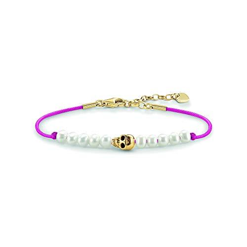 Thomas Sabo Damen-Armband Love Bridge Totenkopf 925 Sterling Silber 750 gelbgold vergoldet Nylon Süßwasserzuchtperle weiß pink Länge von 15 bis 18 cm LBA0074-900-14-L19,5v