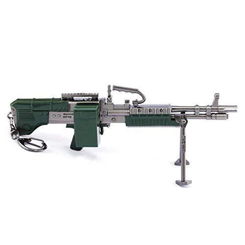 El modelo MK60 es de 17 cm. Juguete de metal MK60 con ametralladora pesada para usar como llavero para fiestas, colgantes decorativos, personajes de juego para niños y niñas.