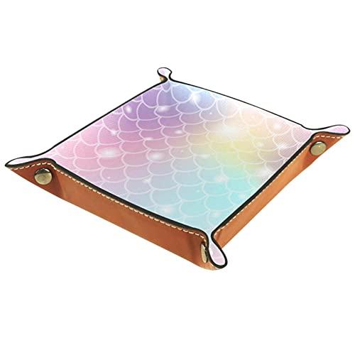Bandeja de valet para almacenamiento de escritorio – Bandeja multiusos de piel sintética para mesita de noche, soporte de dados para llaves, teléfono, cartera, moneda, joyas de lentejuelas rosa sirena