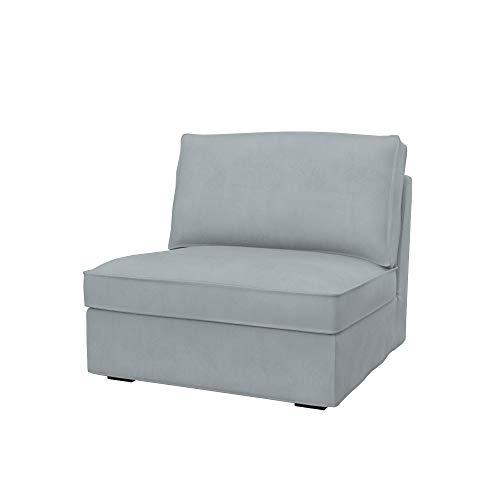 Soferia Fodera di Ricambio per Ikea KIVIK Divano a 1 posti, Tela Majestic Velvet Silver, Grigio