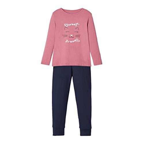 NAME IT Zweiteiliger Schlafanzug für Mädchen Katze in rosa 98-104/3-4 Jahre