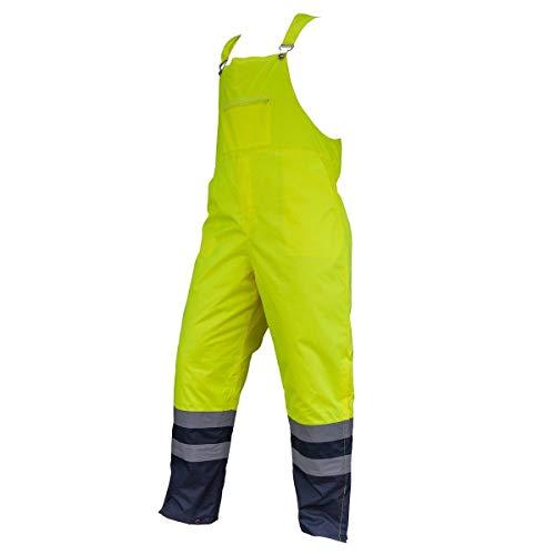 URG Winter Arbeitslatzhose Sicherheitshose Warnhose Latzhose Thermo Warm wasserdicht(HSV-Yellow) (3XL)