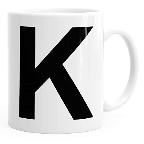 MoonWorks Kaffee-Tasse Buchstaben Buchstabe Arial Bold glänzend Kaffeetasse Teetasse Keramiktasse K weiß Unisize