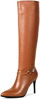 VOCOSI Women's Leather Over The Knee Boots Pointy Toe...