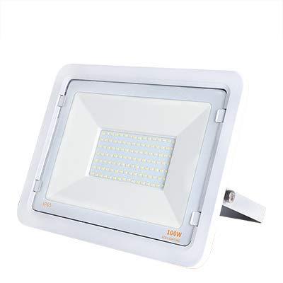 Kingled – Foco LED de exterior blanco 100 W 8000 lm luz fría 6500 K, foco LED exterior, proyector de exterior impermeable IP65, luz jardín, iluminación interior y exterior