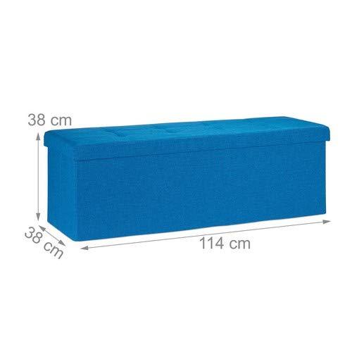Relaxdays Faltbare Sitzbank XXL, Sitzcube mit Stauraum, Sitzwürfel aus Leinen, mit Deckel, HBT 38 x 114 x 38 cm, blau - 2