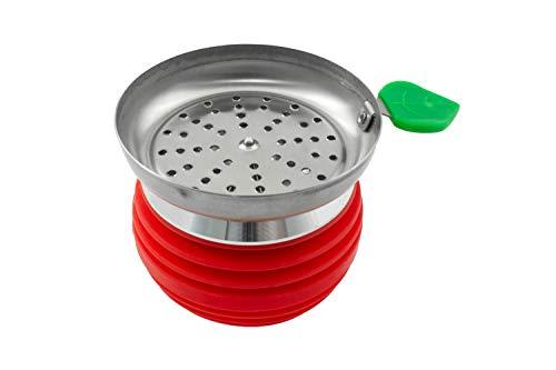 Hookah Hookah Bowl with Metal Base - Premium Design - Flame Retardant Silicone Model PG-010 (Red)