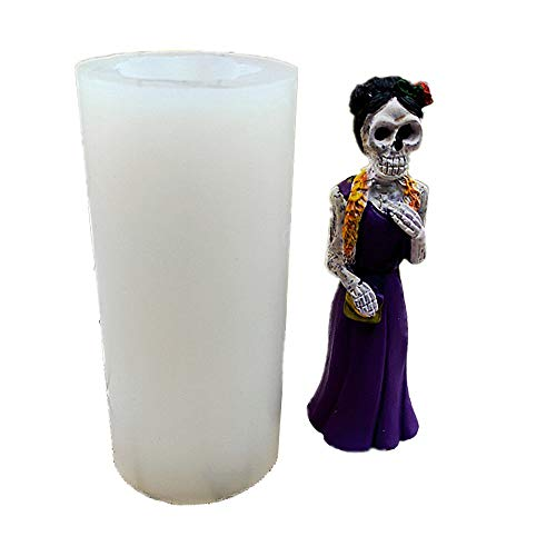 3D Mrs. Skeleton Candle Silicone Moulds,DIY Handmade Plaster Making Tool,Marble Pillar Shape Mold...