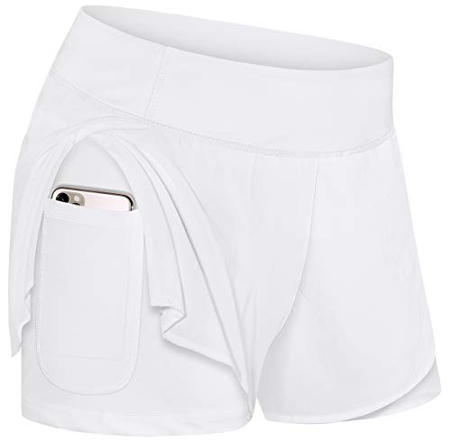 Kimmery Shorts for Teen Girls,Ladies Elastic Waist Band Light Running Yoga Short Pants with Underlining Fit Work Out 2 Layers Workout Active-wear with Pocket White L