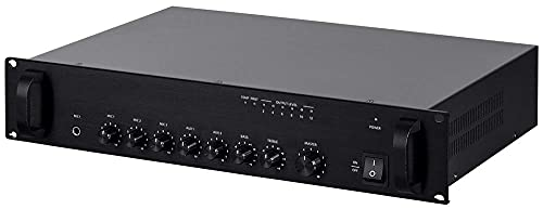 Monoprice Commercial Audio 240W 5ch 100/70V Mixer Amp with Microphone Priority (NO Logo) (Renewed)