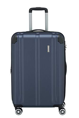 Travelite 4-Rad Koffer M mit TSA Schloss + Dehnfalte, Gepäck Serie CITY: Robuster Hartschalen Trolley mit kratzfester Oberfläche, 073048-20, 68 cm, 78 Liter (erweiterbar auf 86 L), marine (blau)