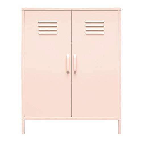 REALROOMS Shadwick 2 Door Metal Locker Storage Cabinet, Pink