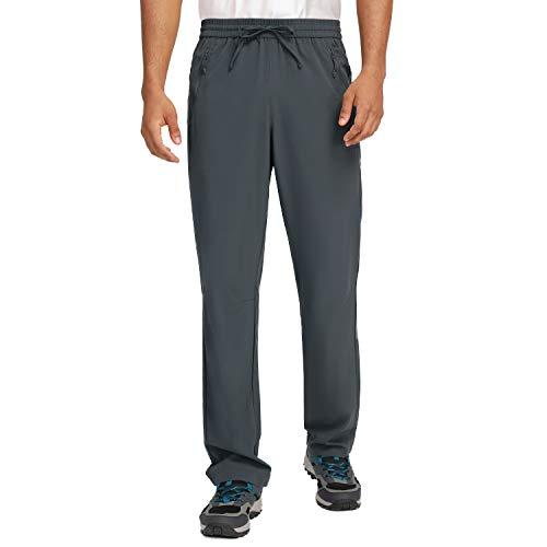 """Calça de moletom masculina CAMEL de secagem rápida, calça de viagem ultraleve para caminhada, respirável, para acampamento, verão, Grey-1, XXX-Large/Inseam 33.2"""""""
