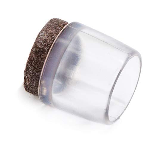 Adsamm® | 16 x Stuhlbeinkappen mit Filz/Ø 16 mm/für runde Rohre Ø 15-16 mm/Transparent/rund/Filz-Möbelgleiter für Stahlrohrstühle
