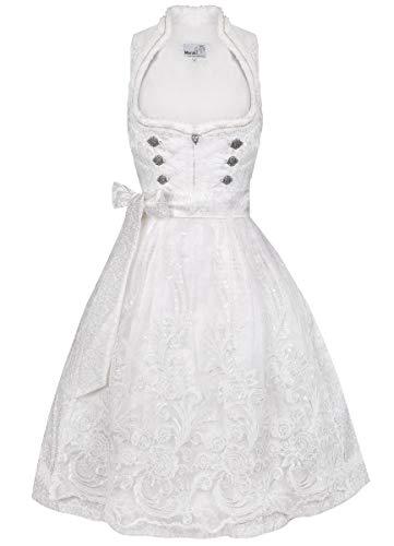 MarJo Trachten Damen Trachten-Mode Midi Hochzeitsdirndl Gilitta in Weiß, Größe:32, Farbe:Weiß