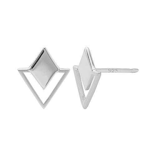 Boma Jewelry Sterling Silver Geometric Diamond \& Triangle Stud Earrings
