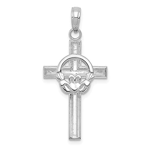 Solid 10K White Gold Celtic Irish Claddagh Cross Pendant Charm