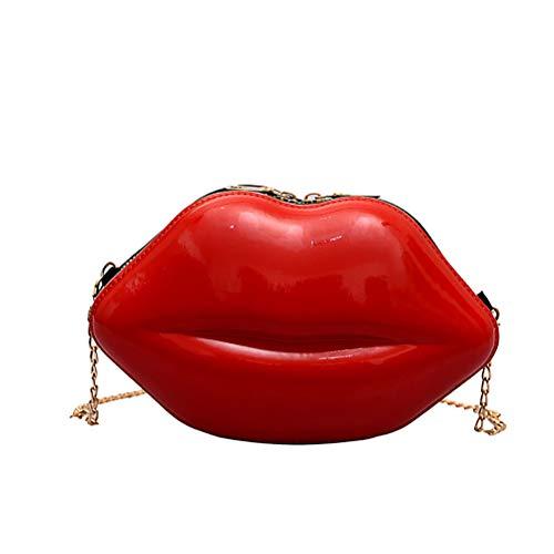 Damen Umhängetasche Schultertasche Kette Lippen Damen Holographisch Laser Frauen Tasche Handtasche Messenger Tasche 14 * 6 * 23 cm