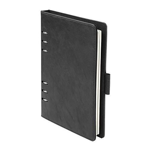 Caderno profissional Oxford de 6 anéis, 18 x 23 cm, recarregável, papel marfim, 100 folhas, capa preta de couro sintético (90004)