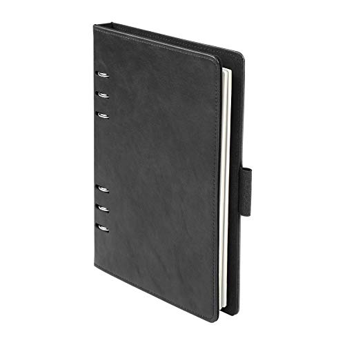Oxford 90004 - Cuaderno profesional de 6 anillas (7 x 9 pulgadas), cuaderno recargable, papel marfil, 100 hojas, cubierta de piel sintética negra (90004)
