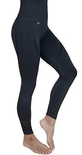 Prosske Damen Sport Leggings High Waist DLL1 Laufhose Fitnesshose Sporthose Atmungsaktiv - Schwarz, L