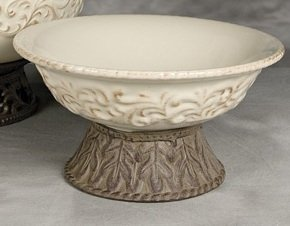 GG Collection Cream Bowl with Metal Pedestal