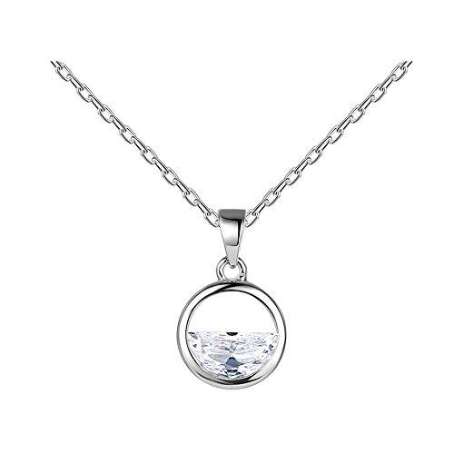 Collar Mujer Plata de Ley 925 Circón Simple Sentido romántico Ins Cadena de clavícula Collar Colgante para Regalos de cumpleaños para niñas Amiga Mamá