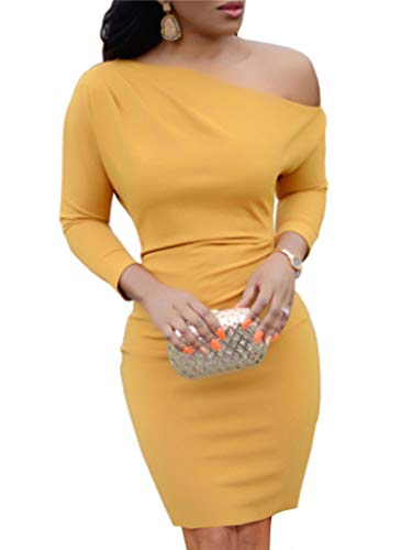 Jeanewpole1 Womens One Shoulder Long Sleeve Midi Dress Sexy Bodycon Sheath Party Pencil Dress