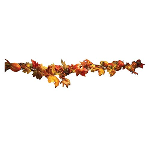 1.8m Autumn Pumpkin Maple Leaf Wreath Thanksgiving Decoration Handmade Artificial Plants Thanksgiving Decorations (Color : Pumpkin, Size : 1.8m)