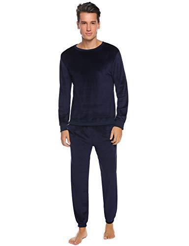 Abollria Nicki Hausanzug Herren Velours Zweiteiliger Freizeitanzug Samtweiche Rundhals Pullover +Jogginghose mit Tasche,Navyblau,S