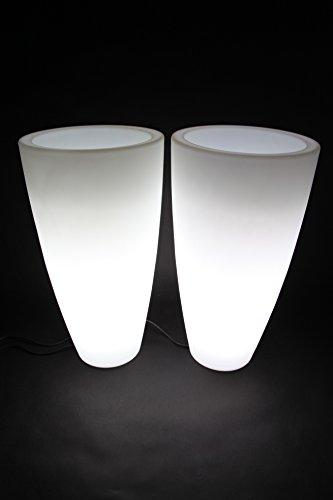Preisvergleich Produktbild Blumenkübel Pflanzkübel Pflanzgefäß weiß beleuchtet 2 Stück point-garden
