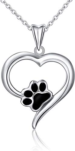 BGTY S925 Sterling Silver Jewellery Heart Shape with a Paw Print Pendant Necklace for Girls, Rolo Chain 18'