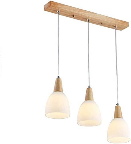 Hogreat Candelabro Lámpara Colgante para la Cocina del Restaurante, Lámpara Colgante con Pantalla de Cristal Decoración de Madera, Lámpara Moderna nórdica-3-luces