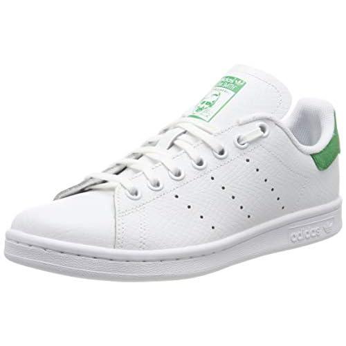adidas Stan Smith J_CG6672, Scarpe da Ginnastica Unisex Bambini, Bianco (Ftwr White/Ftwr White/Green Ftwr White/Ftwr White/Green), 35.5 EU