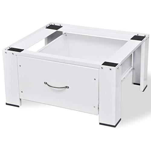 Anself Socle pour machine à laver avec tiroir Blanc 63 x 54 x 31 cm