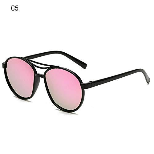 WSXOKN Gafas de sol Mujeres Hombres Marco de plástico de Madera Tonos de Moda Moda Azul Espejo Gafas de sol Gafas de sol redondas