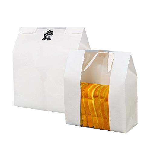 Paper Bread Loaf Bags with Window,Kraft Food Packaging Storage Bakery Bags,Pack of 50