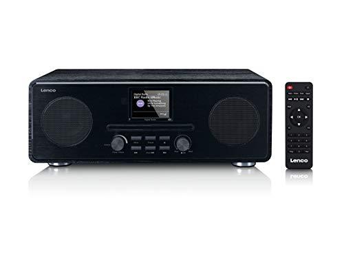 Lenco DAR-061 DAB+ CD-Radio - Bluetooth 5.0 - DAB+ und PLL FM Empfänger - LCD-Bildschirm - Zwei Weckzeiten - 2 x 10 Watt RMS - Equalizer - AUX-In - 3,5mm - schwarz